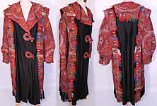 Antique Kashmir Hand Embroidered Woven Wool Pieced Paisley Long Duster Coat