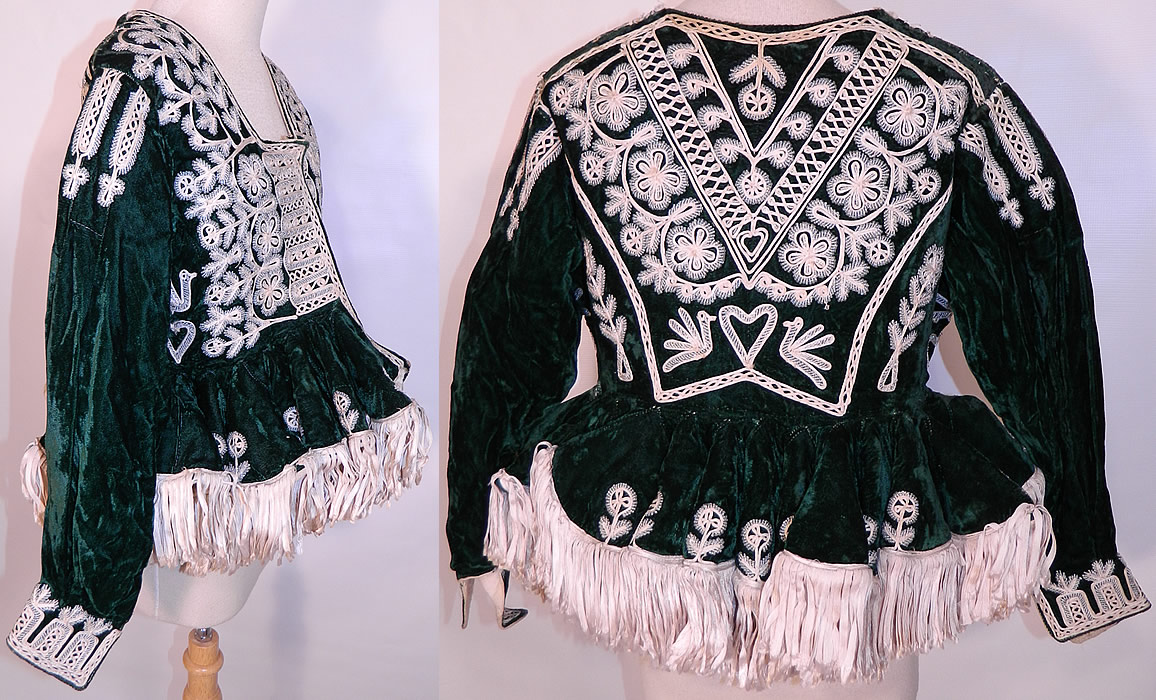 Antique Spanish Conquistador Bolivian Milkmaids Folk Costume Velvet Beaded Jacket. This women's fabulous folk costume Victorian era style fitted bodice jacket has an open front with no closure, a squared neckline, long full tapered sleeves with  fitted cuffs and a short wide peplum skirted waist.