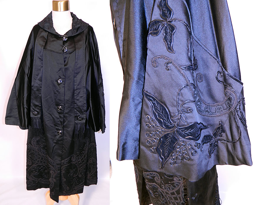 Vintage Black Silk Soutache Embroidered Opera Cloak Cape Coat Dress. This amazing antique Art Deco black silk soutache embroidered opera cloak cape coat dress dates from the 1920s.