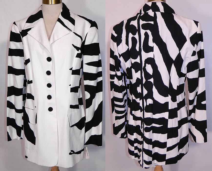 Vintage Cheap & Chic Moschino Black & White Zebra Print Suit Jacket Skirt. This vintage Cheap and Chic by Moschino black & white zebra print suit jacket and skirt dates from the 1988. It is made of a black and white cotton fabric with a striped zebra animal print pattern design.