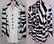 Vintage Cheap & Chic Moschino Black & White Zebra Print Suit Jacket Skirt