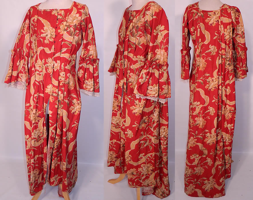 Victorian Red & Gold Carnation Flower Watteau Train Dressing Gown Robe Dress. This antique Victorian era red and gold carnation flower watteau train dressing gown robe dress dates from 1890. It is made of red heavy cotton pique ribbed textured fabric, with a gold ribbon carnation flower print pattern design.