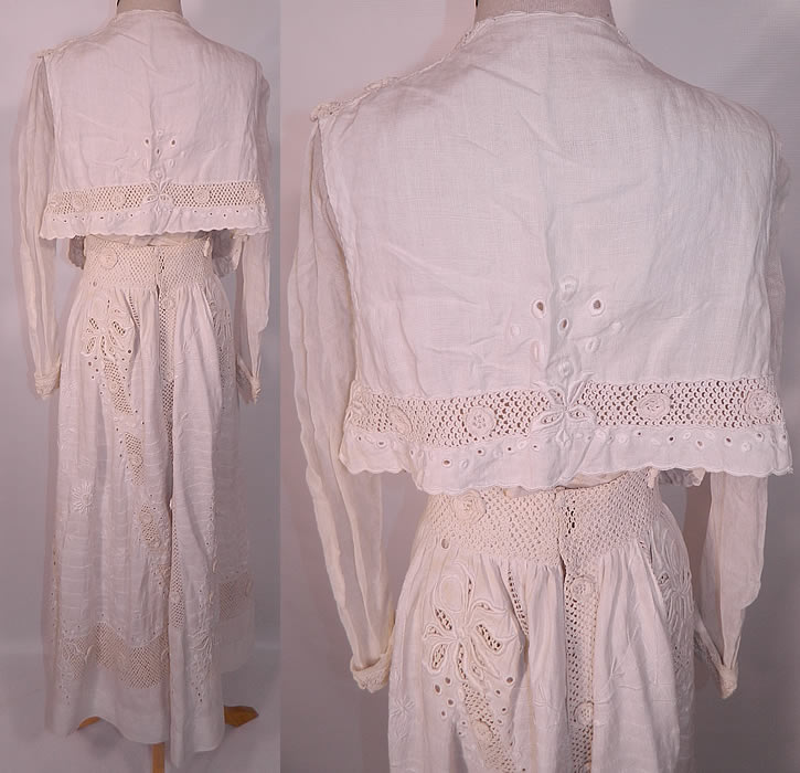 Edwardian White Linen Eyelet Embroidered Irish Crochet Lace  Dress Blouse & Skirt. This stunning summer two piece walking suit includes a blouse top, with an open front short cropped top sleeveless vest style overlay, long tapered sleeves with rolled cuffs and a V front neckline with snaps, hooks closures.