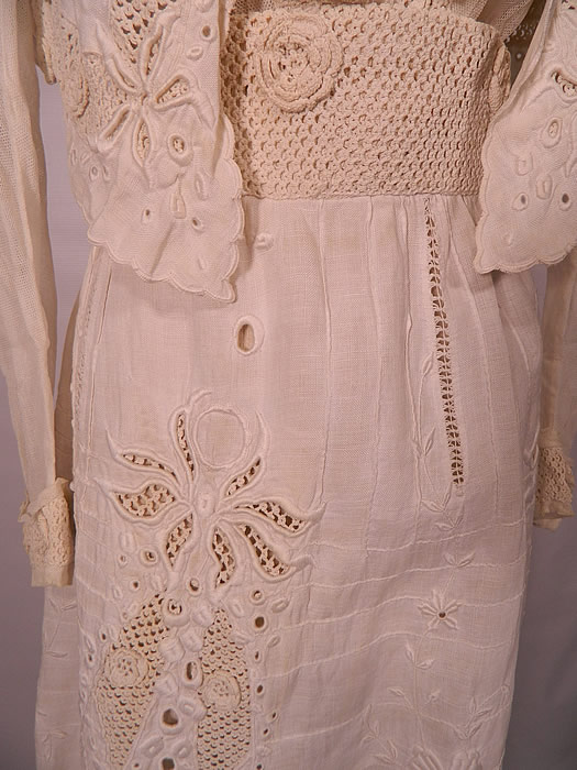 Edwardian White Linen Eyelet Embroidered Irish Crochet Lace  Dress Blouse & Skirt. The top measures 15 inches long, with a 26 inch waist, 34 inch bust, 13 inch back and 21 inch long sleeves.