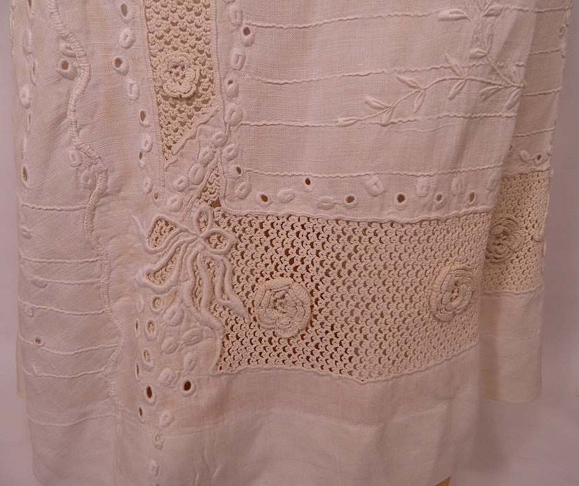 Edwardian White Linen Eyelet Embroidered Irish Crochet Lace  Dress Blouse & Skirt. There is a matching embroidered lace trim linen fabric long floor length full skirt, with a wide crochet lace waistband trim and snap, hook closures on the back. The skirt measures 35 inches long, with 40 inch hips and a 24 inch waist.