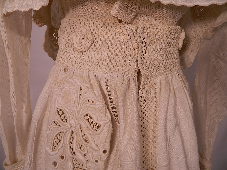 Edwardian White Linen Eyelet Embroidered Irish Crochet Lace  Dress Blouse & Skirt. It is in good condition, with only a few faint small age spot stains on the back skirt waist. This is truly an extraordinary piece of wearable antique lace textile art!