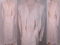 Edwardian White Linen Eyelet Embroidered Irish Crochet Lace Dress Blouse & Skirt