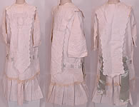 Edwardian White Cotton Pique Eyelet Embroidered Lace Childs Dress  & Dickey Collar