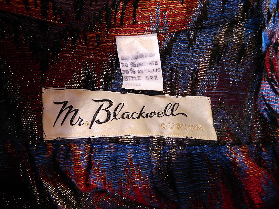 "Vintage Mr. Blackwell Custom Missoni Style Striped Zigzag Lamé Suit Jacket & Skirt. There is a ""Mr. Blackwell Custom""  designer label Size Small tag sewn inside."