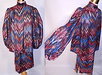 Vintage Mr. Blackwell Custom Missoni Style Striped Zigzag Lamé Suit Jacket & Skirt