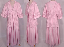 Edwardian Pink Cotton French Knot Soutache Walking Suit Jacket Top Skirt
