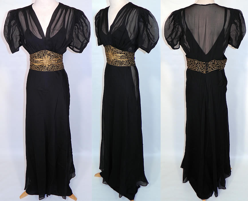 Vintage Black Silk Chiffon Gold Lamé Soutache Belted Evening Gown Dress & Slip. This vintage black silk chiffon gold lamé soutache belted evening gown dress and slip dates from the 1940s. It is made of a black sheer silk chiffon fabric, with an attached gold metallic lamé raised soutache embroidered belt with a floral spiral scroll work design.