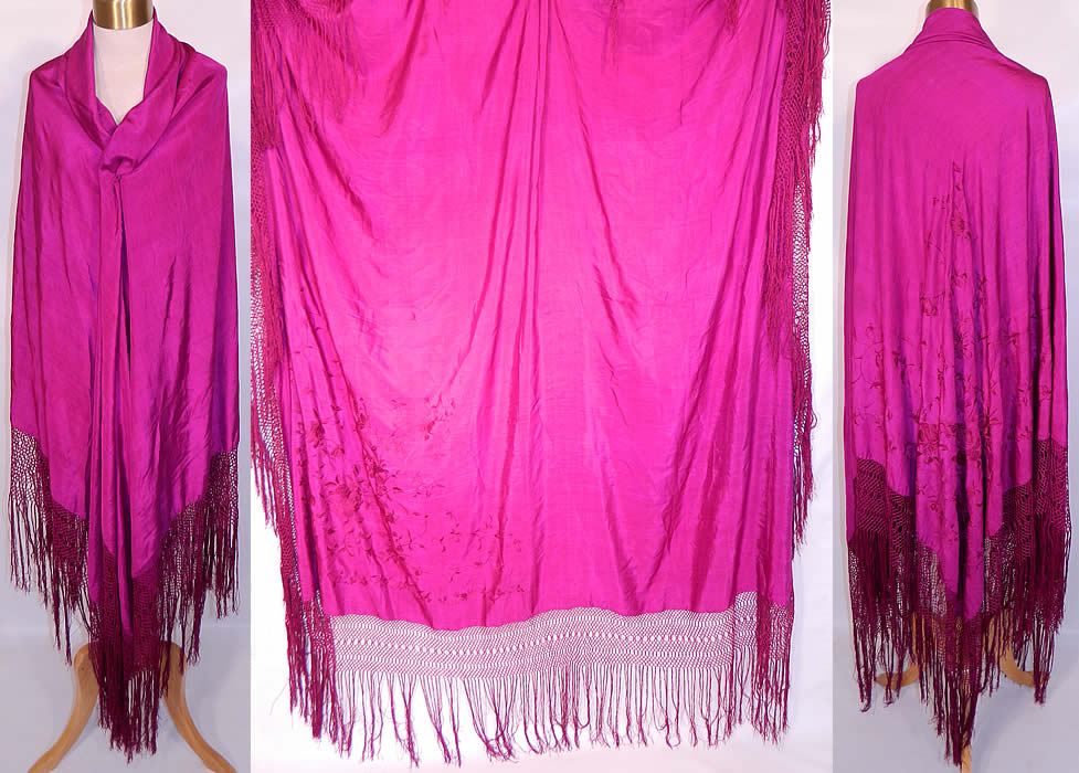 Vintage Fuchsia Purple Silk Floral Embroidered Fringe Boho Piano Shawl.  It is made of a purplish red fuchsia color Canton crepe de Chine silk fabric, with matching fuchsia silk raised padded satin stitch hand embroidery work rose flowers embroidered in one corner.