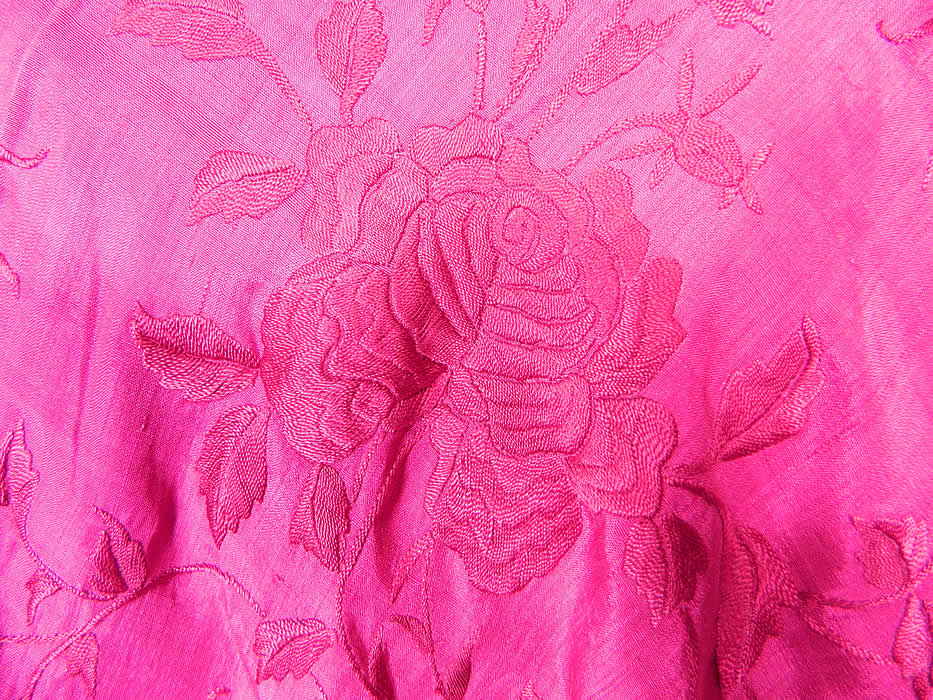 Vintage Fuchsia Purple Silk Floral Embroidered Fringe Boho Piano Shawl. The shawls fabric square measures 64 by 64 inches. This beautiful bohemian Art Deco flapper shawl is in excellent condition and is a wonderful piece of wearable textile art!