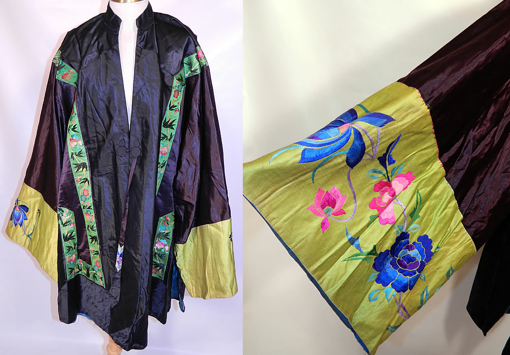 Antique Chinese  Silk Embroidered Peony Lotus Flower Sleeve Band Cuff Robe Coat. This antique Chinese silk  embroidered peony lotus flower sleeve band cuff robe coat dates from 1910 during the end of the Qing Dynasty. It is hand stitched, made of a  black silk  fabric, with green silk damask brocade ribbon trim edging and chartreuse green silk wide sleeve band cuffs, with bright colorful raised padded satin stitch embroidered  butterflies, peony and lotus flowers.