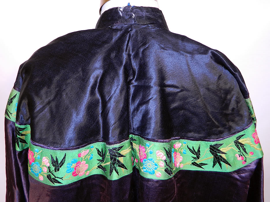 Antique Chinese  Silk Embroidered Peony Lotus Flower Sleeve Band Cuff Robe Coat. It is in good condition, with the bottom hem inside lining frayed and a small fray on the back collar (see close-up). This is truly a  wonderful piece of antique Chinese textile art!