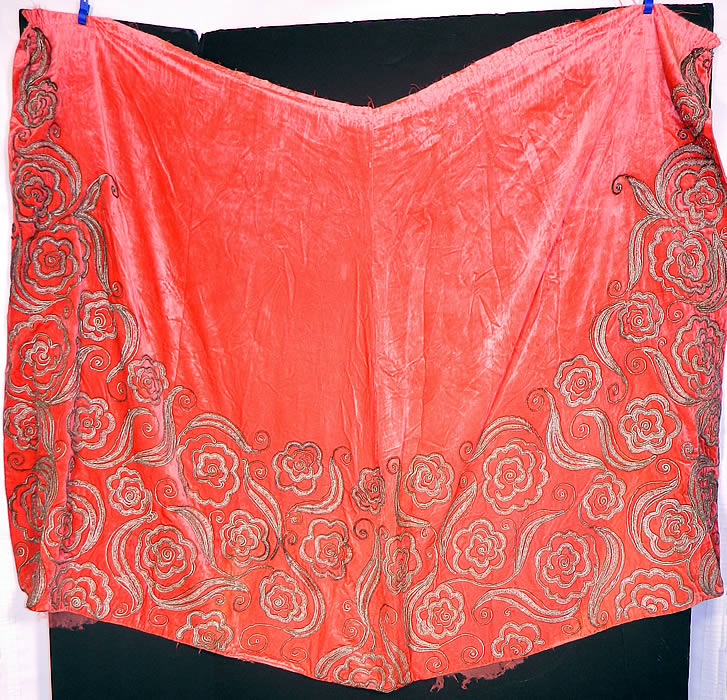Vintage Coral Pink Velvet Gold Lamé Soutache Work Fabric Flapper Cloak Cape. This fabulous flapper fabric evening cloak cape shawl has a slight uneven asymmetrical V top edging, an unfinished neckline, open front with no closure and is lined, backed in a pink silk chiffon fabric.
