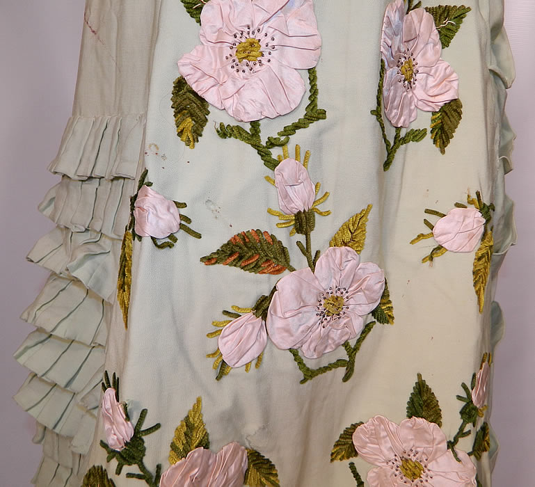Victorian Pastel Mint Green Wool Pink Silk Rosette Flower Bustle Gown Dress. This is still a rare and exceptional piece of antique Victoriana wearable art!