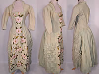 Victorian Pastel Mint Green Wool Pink Silk Rosette Flower Bustle Gown Dress