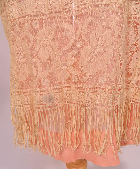 Vintage Cream Fringe Filet Lace Pink Silk Rosette Chemise Slip Flapper Dress. It is in good condition, with only a small grease smudge mark the bottom skirt (see close-up). This is truly a wonderful piece of wearable lace art!