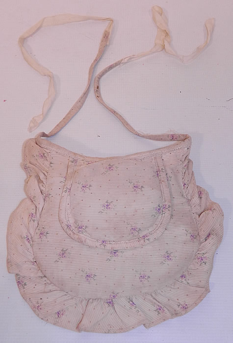Victorian White Cotton Pique Purple Violet Polka Print Crinolette Bustle Pad Support. This unique undergarment would have been worn under a bustle skirt dress to expand the fullness or support the back drape of the fanned train skirt.