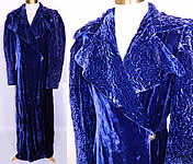 1940s Vintage Royal Blue Silk Velvet Quilted Long Floor Length Evening Opera Coat