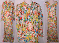 Vintage Daisy Flower Print Silk Chiffon Belted Bias Cut Dress Slip Cloak Cape