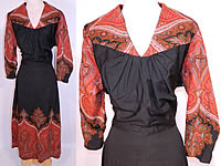 Vintage Red Orange Paisley Shawl Black Wool Dress