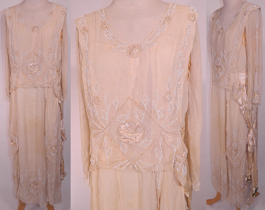 Edwardian Cream Silk White Beaded Rosette Belted Wedding Gown Dress. This antique Edwardian era cream silk white beaded rosette belted wedding gown dress dates from 1915. It is made of a cream silk fabric, with white crystal beading and silk raised rosette rose flower trim.