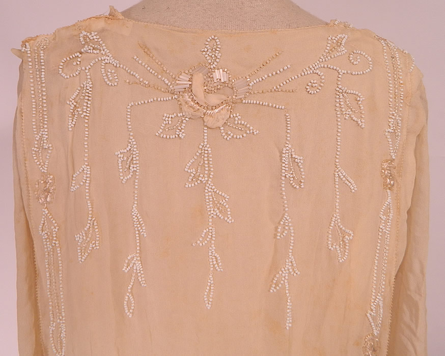 Edwardian Cream Silk White Beaded Rosette Belted Wedding Gown Dress. It would be great for design, study, pattern or restoration. This is truly an exceptional quality custom made piece of wearable art!