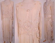 Edwardian Vintage Cream Silk White Beaded Rosette Belted Wedding Gown Dress