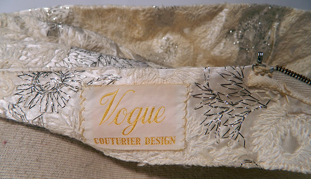 "Vintage Vogue Couturier Design Silver Lame Brocade Sheath Dress Evening Gown Lamé. There is a ""Vogue Couturier Design"" label sewn inside."