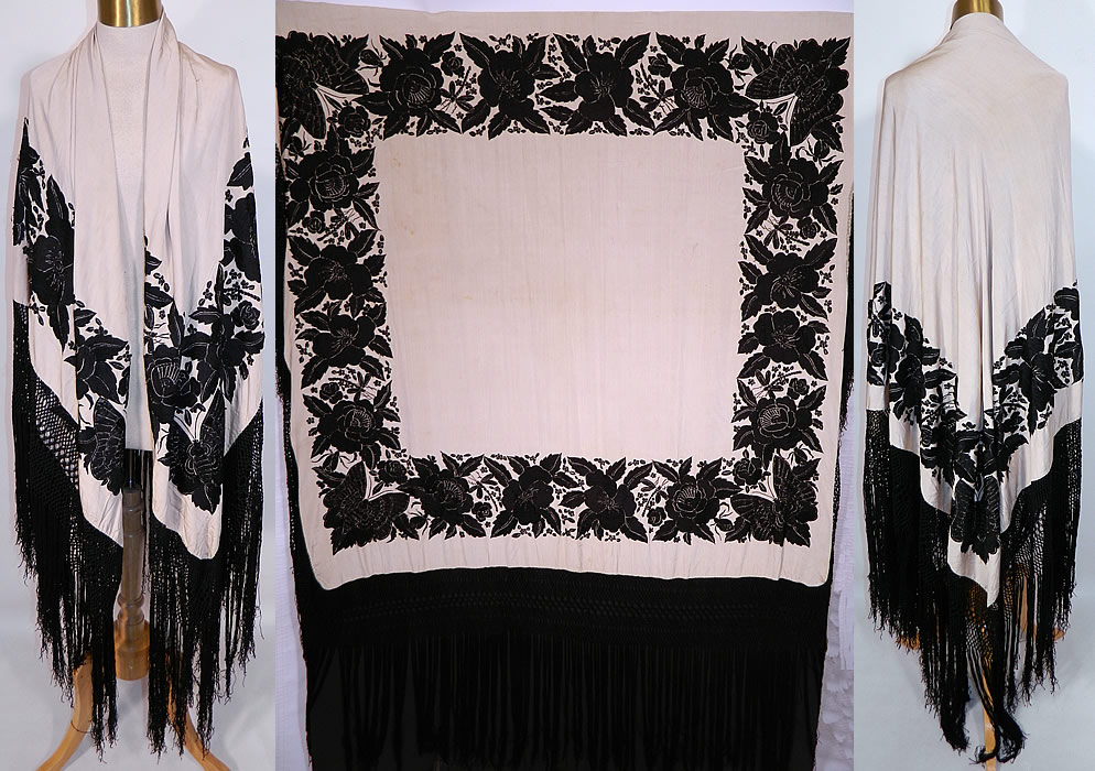 Antique Black & White Floral Butterfly Silk Embroidered Canton Piano Shawl. This antique black and white floral butterfly silk embroidered Canton piano shawl dates from the 1920s. It is made of an off white cream color silk fabric background, with contrasting black silk raised padded satin stitch hand embroidery work.