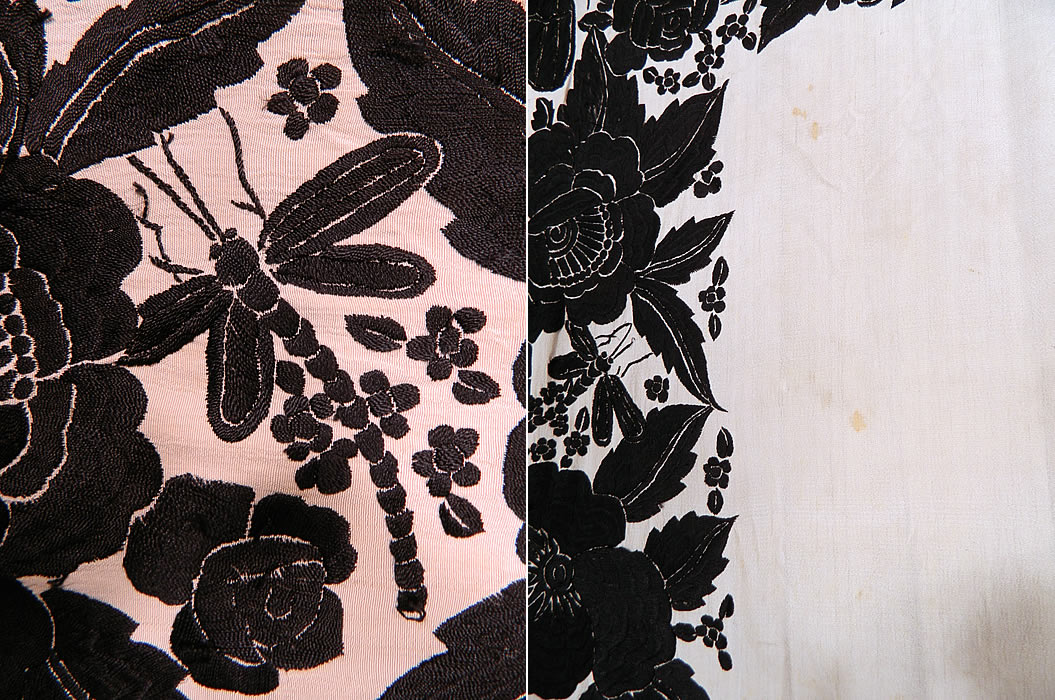 Antique Black & White Floral Butterfly Silk Embroidered Canton Piano Shawl. The shawls fabric square measures 54 by 54 inches. It is quite heavy weighing over 3 pounds. This quality made Manton Canton Chinese Cantonese style Spanish Flamenco shawl is in good condition, has not been cleaned, with only a few tiny faint age spot stains (see close-up). This is truly an exceptional piece of wearable textile art!