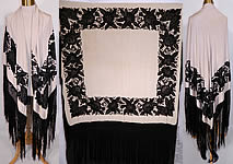 Antique Black & White Floral Butterfly Silk Embroidered Canton Piano Shawl