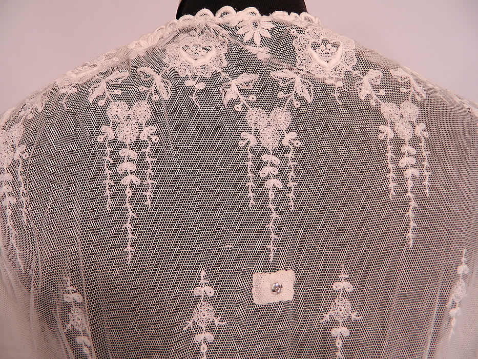edwardian white net embroidered tambour lace pearl beaded dr