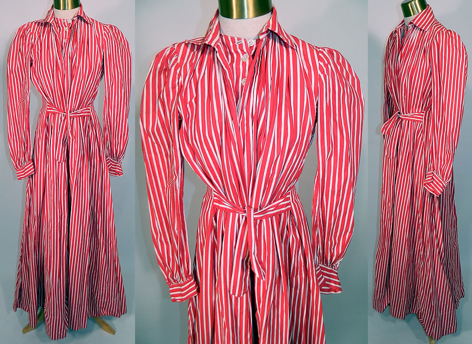 Victorian Red & White Candy Cane Stripe Wrapper Morning Robe Dress Gown. It is made of a red and white candy cane stripe cotton fabric. This handsome holiday wrapper robe style morning dress gown is loose fitting, a long floor length, with a fold over collar, open front with button down insert bodice top sewn inside, a belted tie sash front, gathered shoulders, long full sleeves with fitted cuffs and a fitted pleated back.