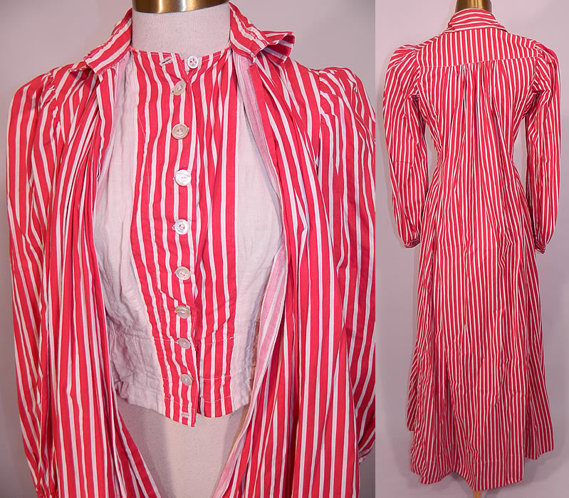 Victorian Red & White Candy Cane Stripe Wrapper Morning Robe Dress Gown. The dress measures 60 inches long, with 40 inch hips, a 40 inch waist, 34 inch bust, 12 inch back and 25 inch long sleeves. This wonderful wrapper morning gown dress is in good condition and looks to have never been worn.