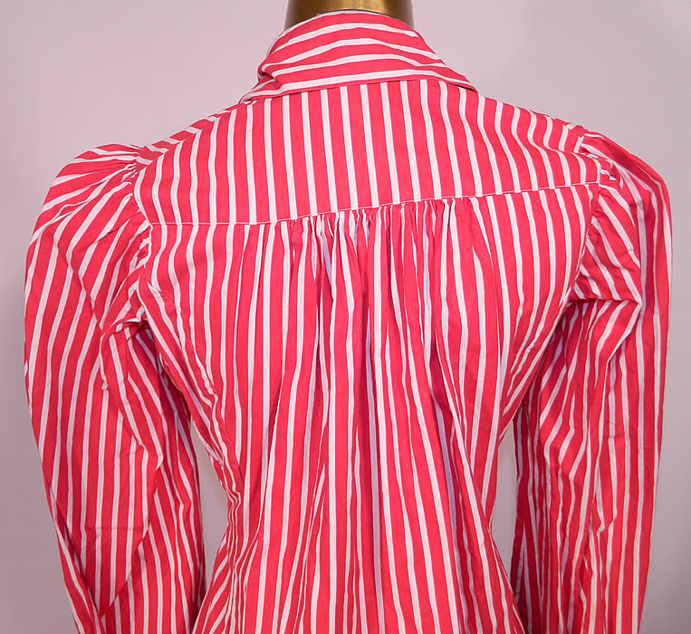 Victorian Red & White Candy Cane Stripe Wrapper Morning Robe Dress Gown. This antique Victorian era red and white candy cane stripe wrapper morning robe dress gown dates from 1890. This wonderful wrapper morning gown dress is in good condition and looks to have never been worn. This is an amazing piece of Victoriana wearable art!