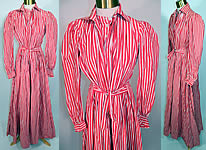 Victorian Red & White Candy Cane Stripe Wrapper Morning Robe Dress Gown
