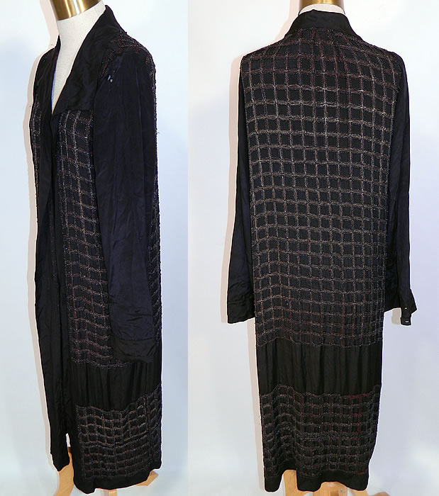 Vintage Art Deco Black Silk Gold Lamé Beaded Grid Evening Flapper Coat Jacket. This fabulous flapper evening opera coat is a long floor length, loose fitting, has an open front with no closure, a fold over lapel collar, long full sleeves with button cuffs and is unlined.