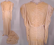Vintage Pearl Beaded Cream Silk Velvet Bias Cut Wedding Gown Dress Long Train Skirt