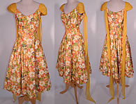 Vintage Edson's Hotel Syracuse Yellow Chiffon Scarf Floral Print Cotton Circle Skirt Dress