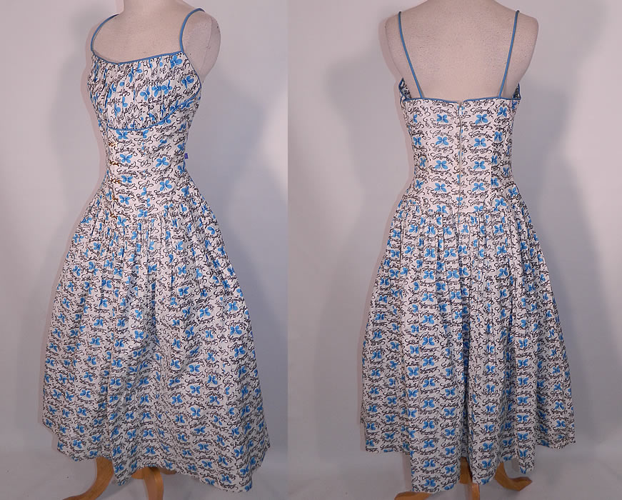 Vintage Blue Butterfly Papillon Print Cotton Circle Skirt Summer Sun Dress. vIt is in excellent condition. This is truly a wonderful piece of wearable art.