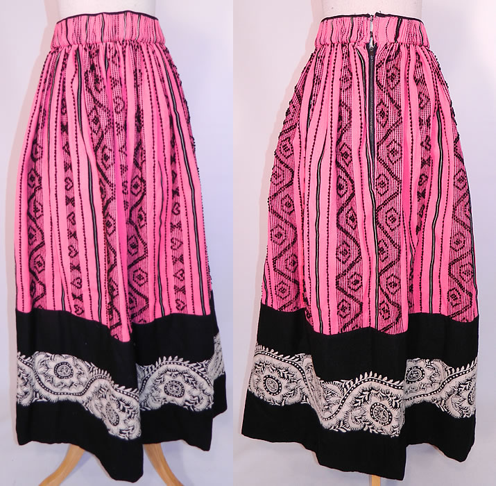 Vintage European  Embroidered Woven Wool Pink Hearts Boho Maxi Skirt Folk Costume. This vintage European embroidered woven wool pink hearts boho maxi skirt folk costume dates from the 1960s.
