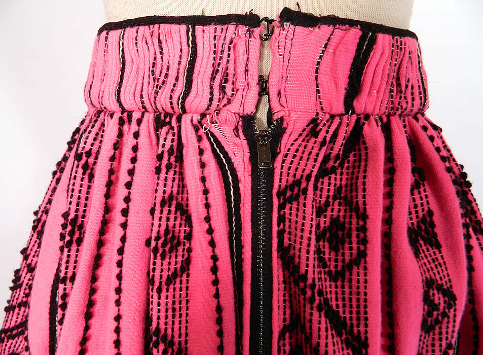 Vintage European  Embroidered Woven Wool Pink Hearts Boho Maxi Skirt Folk Costume. This beautiful boho European folk costume maxi skirt is a long floor length, with a full bottom, fitted waistband with pleated gathering, a back zipper hook closure and lined bottom hem.