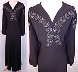 Vintage Black Silk Crepe Silver Studded Rhinestone Beaded Evening Gown Dress