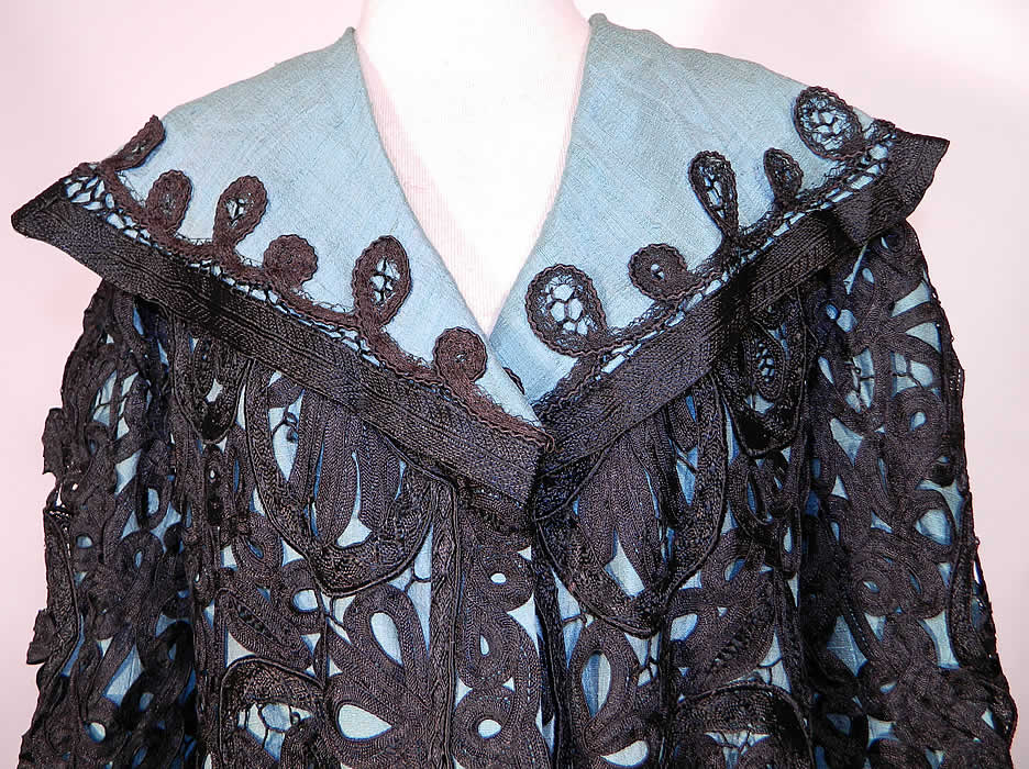 Edwardian Turquoise Blue & Black Silk Battenburg Tape Lace Coat Jacket. This lovely lace loose fitting coat jacket has a long mid length swing style, with an open front, no closure, a wide shawl style sailor collar with black silk soutache embroidery work trim, long full sleeves with rolled cuffs and is fully lined...
