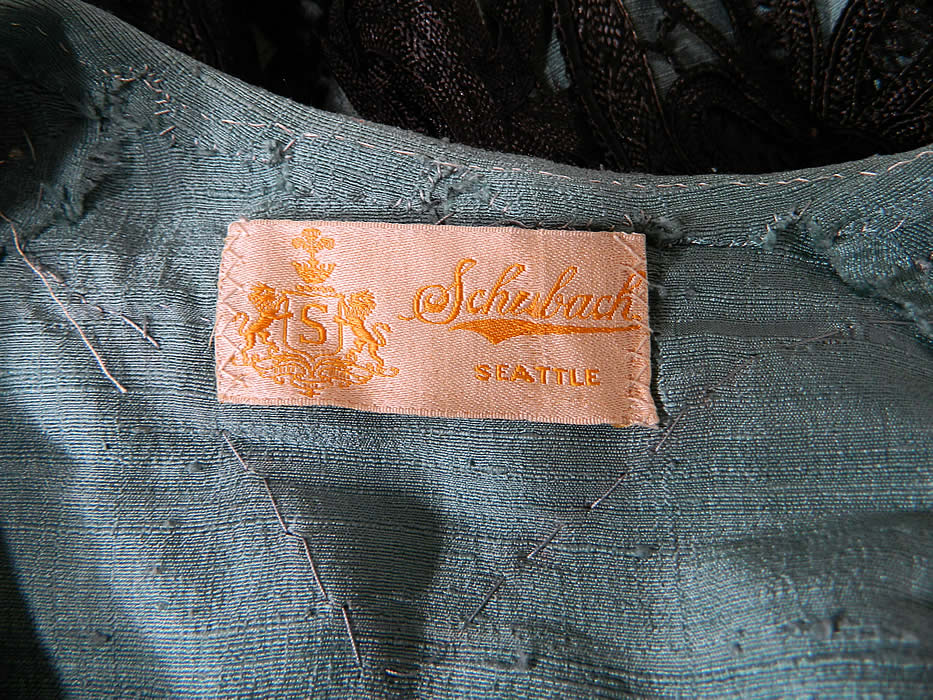 "Edwardian Turquoise Blue & Black Silk Battenburg Tape Lace Coat Jacket with a ""Schubach Seattle"" label sewn inside."