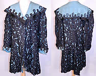 Edwardian Turquoise Blue & Black Silk Battenburg Tape Lace Coat Jacket